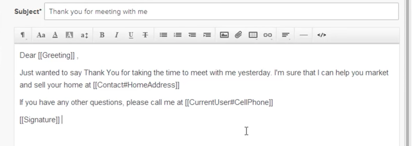 example of an email template using merge fields in Realvolve