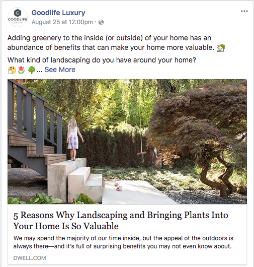 Goodlife Luxury Facebook post