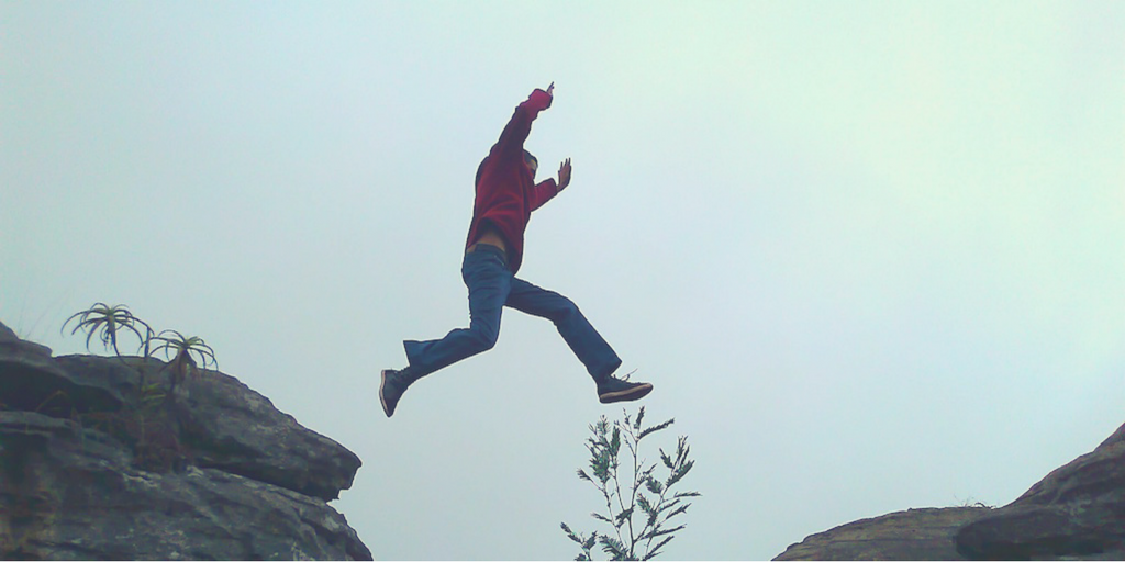 person leaping in the air